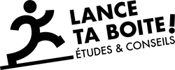 Logo Lance ta boite noir et blanc. entreprise d'étude et de conseils pour aider les créateurs d'entreprises. nos produits : étude de marché, étude d'implantation, recherche de local commercial, stratégie marketing 360